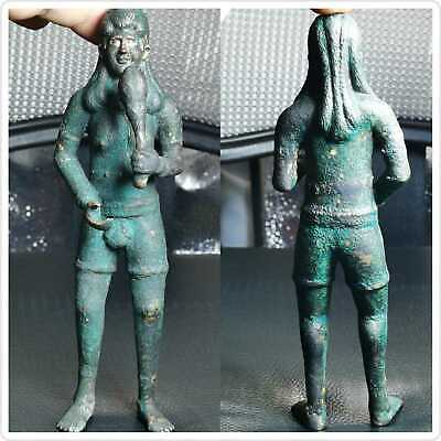 100 BC Ancient Greco-Bactrian Bronze King rare Statue Silver eyes 18cm