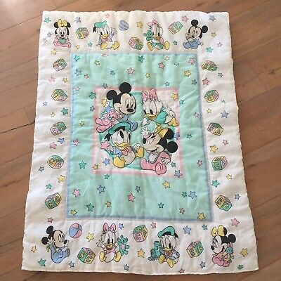 Vtg Dundee Mickey Mouse Minnie Donald Disney Baby Blanket Crib Quilt Block Star