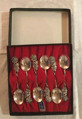 Gorgeous Boxed Set Of Hildesheim Rose Coffee Spoons. Solid German Silver 835