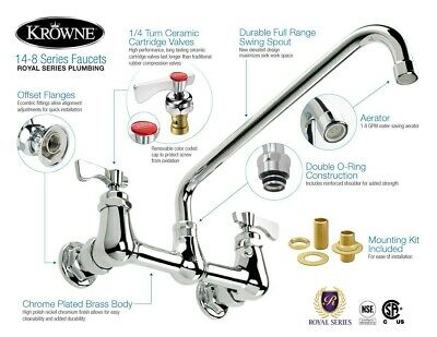 "Krowne 14-812L -  8"" Center Wall Mount Faucet, 12"" Spout"