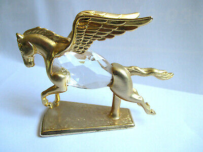 Mystical Pegasus Figurine Gold Flying Horse Crystal Body by Manon 1984 Small