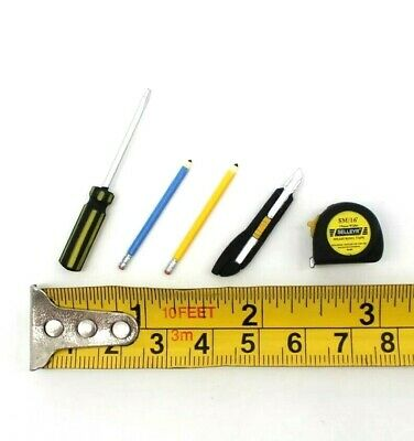 Doll House Accessories 1:12th Minatures - 1 Mini Set of 5 Tools