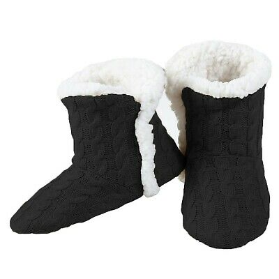 YELETE Womens Cable Knit Slippers House Booties Socks Soft Sherpa Lining Rubb...