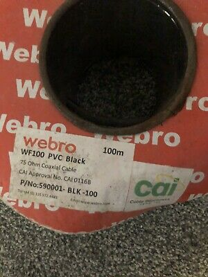 PVC Black Coaxial Cable Approx 100m