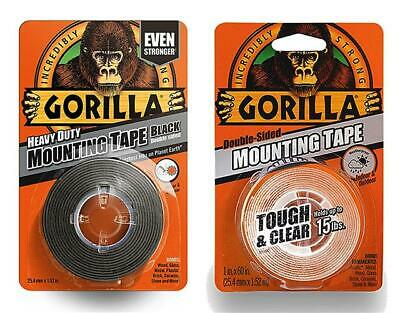 Gorilla Glue Heavy Duty Mounting Tape Double Sided Weatherproof Clear Black