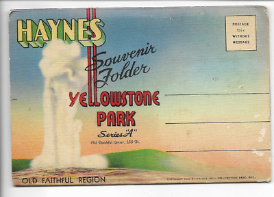 Vintage-Postcard Folder-Yellowstone National Park-Series A
