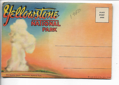 Vintage-Postcard Folder-Yellowstone National Park
