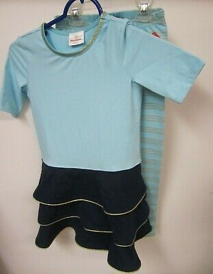 Hanna Andersson Girls Size 120 Outfit Dress Leggings Blue Aqua Gold