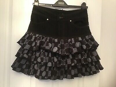 QE563 Girls BNWT Candy Couture Black Floral Ditsy Button Skater Skirt age 14
