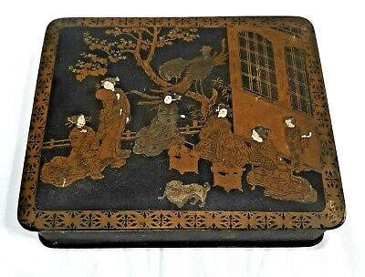 Antique Paper Papier Mache Chinese Or Japanese Black Lacquer & Gold Gilded Box