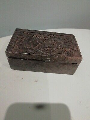 Chinese Soapstone Hand Carved  dragon Decorated Small Trinket Box