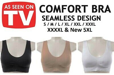 WOMENS SEAMLESS COMFORTABLE BRA Comfy Shapewear Sports Stretch Crop Top Support