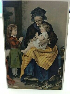 1880's Victorian Trade Card Dr. Jayne's Tonic Vermifuge The Morning Prayer PA