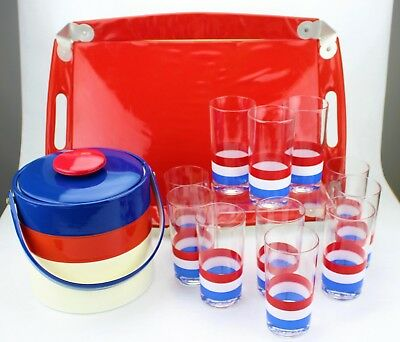 Vintage Georges Briard Glasses Ice Bucket Party Bar Barware Red White Blue (128)