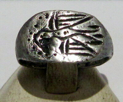 Fantastic Post Medieval Silver Ring With Beautiful Eagle On The Top # 10C