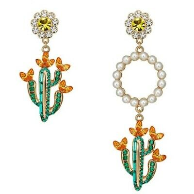Daisy Cactus Pearl Rhinestone Green Yellow Orange Round Drop Women's Earrings