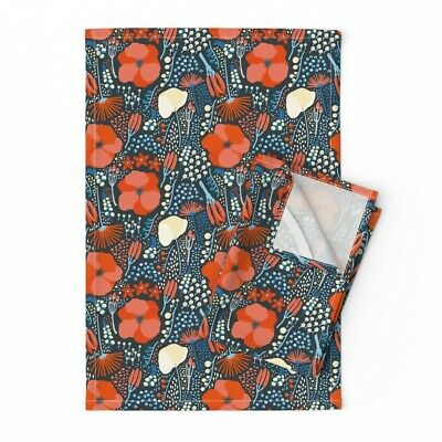 Poppy Floral Red Blue White Modern Linen Cotton Tea Towels by Roostery Set of 2
