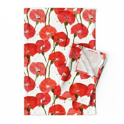 Floral Rememberance Poppies Blossom Linen Cotton Tea Towels by Roostery Set of 2