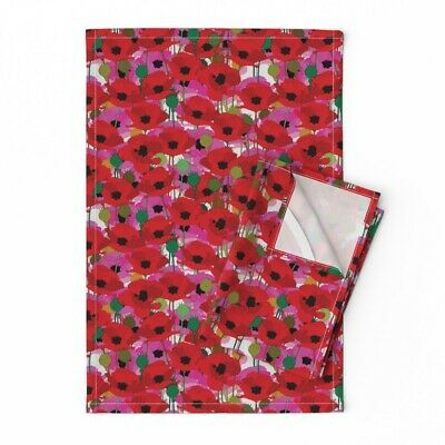 Poppies Floral Spring Garden Linen Cotton Tea Towels by Roostery Set of 2