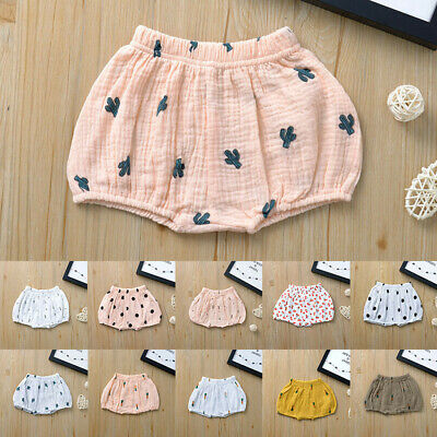 Toddler Kids Baby Girls Boys Linen Cartoon Shorts Briefs Underpants Outfits 3Y