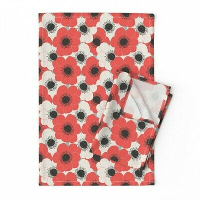 Floral Red Black And White Poppies Linen Cotton Tea Towels by Roostery Set of 2