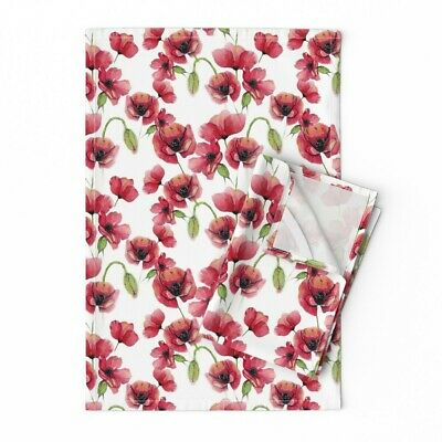 Red Watercolor Poppies Floral Linen Cotton Tea Towels by Roostery Set of 2