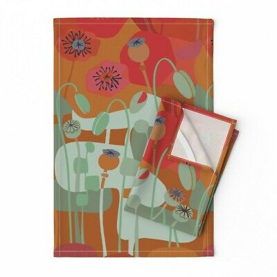 Mid Century Modern Poppies Floral Linen Cotton Tea Towels by Roostery Set of 2