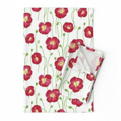 Small Red Poppies And White Floral Linen Cotton Tea Towels by Roostery Set of 2