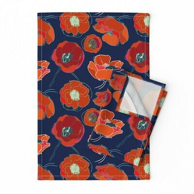 Poppy Blue Red White Modern Home Linen Cotton Tea Towels by Roostery Set of 2