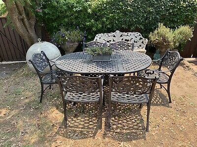 Vintage French Louis Style Outdoor Dining Suite~Table~6 Chairs~Cast Metal Lace