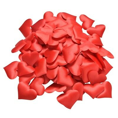 Red Satin Padded Fabric Love Heart Arts And Craft Embellishment Card Decoration