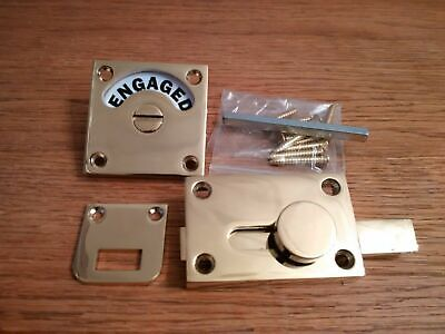 Brass Vacant Engaged Toilet Bathroom Door Lock Indicator Bolt Slide Restroom