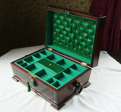 Antique Victorian Rosewood And Mother Of Pearl Inlaid Jewellery Box