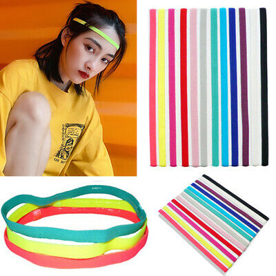 Hot Women Men Yoga Headband Sport Anti-slip Rubber Sweatband Elastic Hair Bands