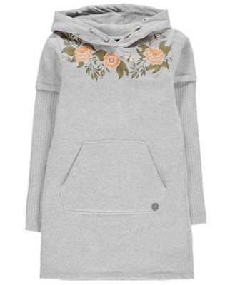 Firetrap Hoody Dress Grey Floral Junior Girls Size UK 5-6 Years *REF141