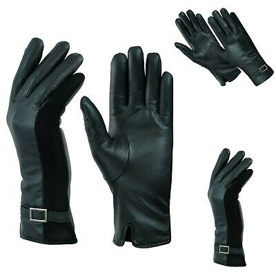 Ladies Women Leather Gloves Thermal Fleece Soft Genuine Lined Driving Buckle UK