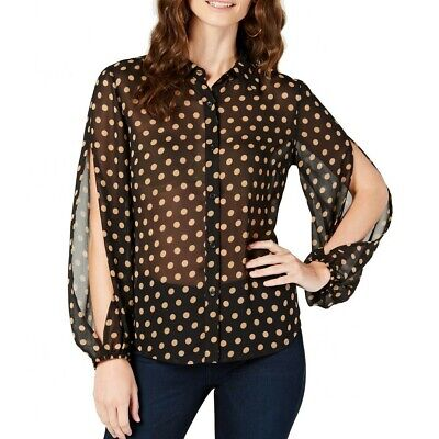 INC NEW Women's Polka Dot Split Sleeves Sheer Blouse Shirt Top TEDO