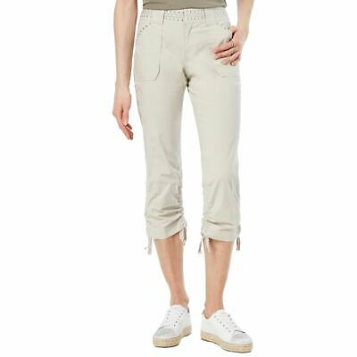 INC NEW Women's Beige Curvy Fit Studded Drawstring Cargo Pants 14 TEDO