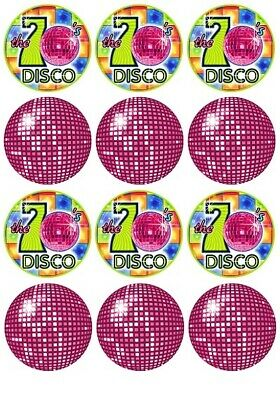 """X24 1.5/"""" DJ DISCO MUSIC DECK CUP CAKE TOPPERS DECORATIONS ON EDIBLE RICE PAPER"""