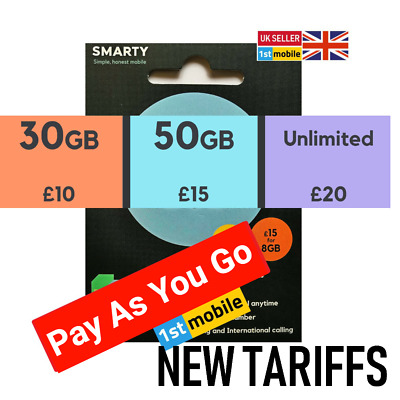 NEW Smarty UK sim card, UNLIMITED mins/texts, NEW OFFER:30GB data for £10/month
