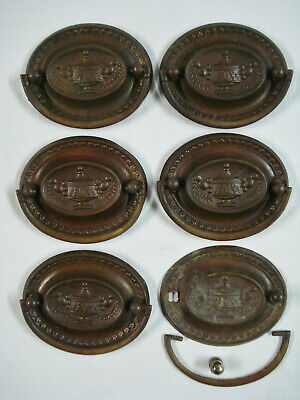 6 Antique Furniture Oval Brass Drawer Pulls Handles Urn Laurel Neo-classical