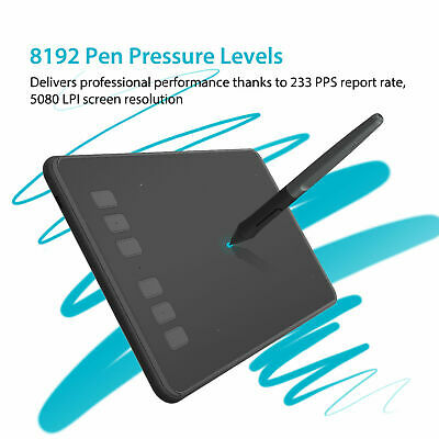 Huion H640P Graphics Drawing Paint Tablet Battery-free Stylus 8192 Pressure OTG