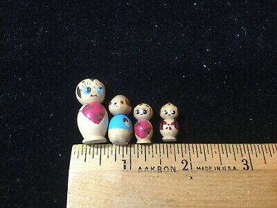 Antique Kokeshi Wooden Figurines Miniature Wood Japanese Doll Traditional Toy 1""