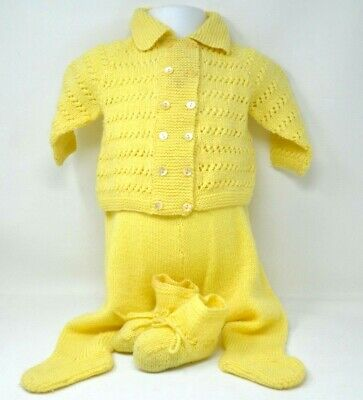 Vintage HANDMADE Baby Boy Girl 4 Pc Outfit Knitted Crochet Sweater Pants Booties