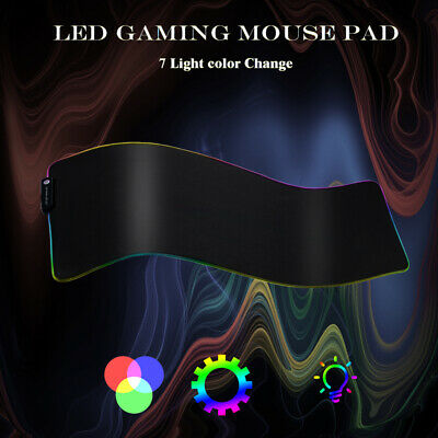 7 Colors RGB LED Mouse Pad PC Gaming Desk Computer Desktop Mousepad Waterproof