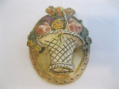 1920's Hubley Cast Iron Door Knocker Oval Flower Basket