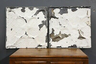 "Antique Tin Ceiling Tiles 24""X24"" Wall Collage White Tile Victorian Pair 2 Vtg"