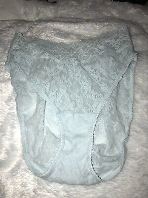 Vintage Vanity Fair Hi-Cut Blue Sheer Lace Panties Hi Leg Floral Size 9 Nylon