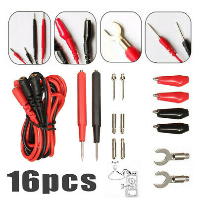 16pcs Multifunction Digital Multimeter Test Leads Probes Meter Cable Supply Kit
