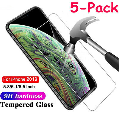 Screen Protector For iPhone 11 Pro Max XR XS Max 8 7 6 1/3/5 PACK Tempered Glass